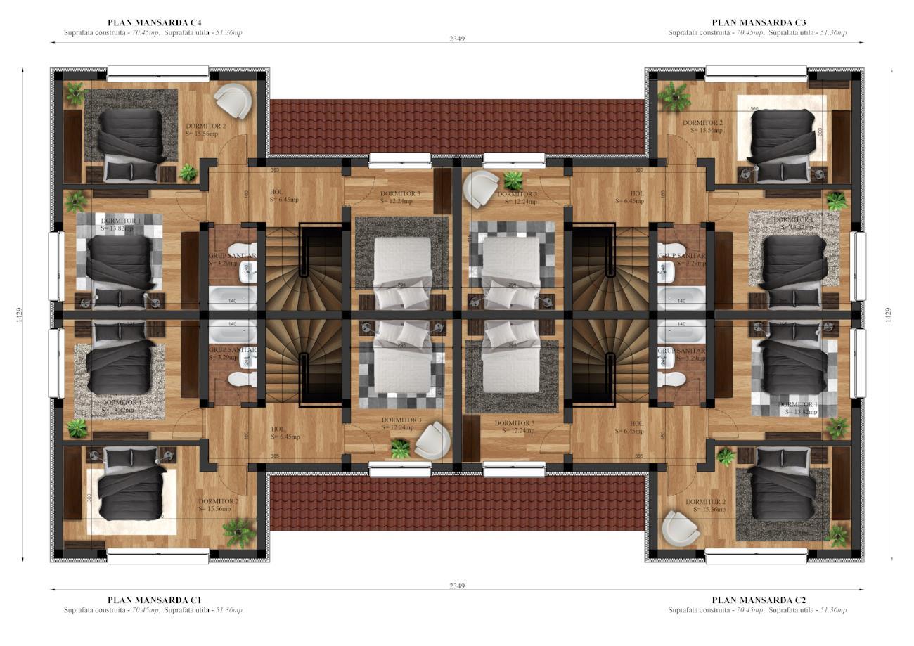 case cvadruple - plan etaj - gardena residence